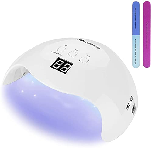 NAVANINO Lampara Secadora de Uñas LED/UV para Esmalte de Uñas de Gel, Cura la Luz en 3 modos para tiempo, Modo de calorbajo99s y Pantalla LCD. Para Manicura/Pedicura Nail Art en el Hogar ect,48W