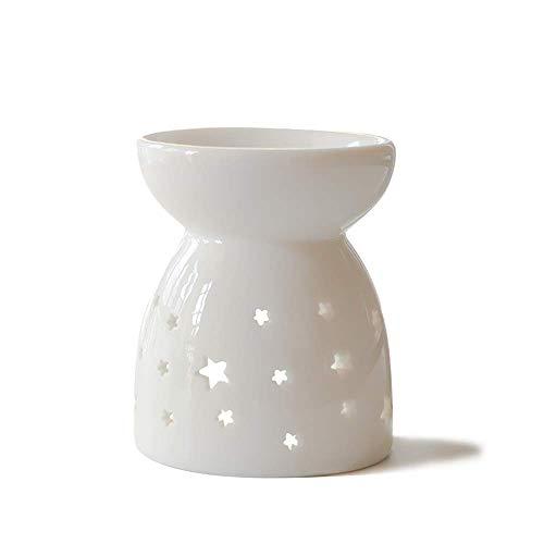 HwaGui Duftlampe Keramik Weiß Ölbrenner Ausgehöhlter Sternentwurf Aromalampe für Spa Entspannung