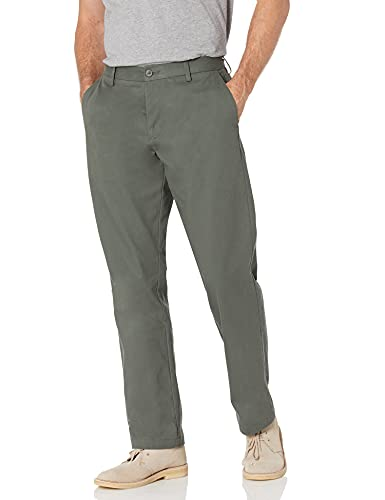 Amazon Essentials Men's Classic-Fit Wrinkle-Resistant Flat-Front Chino Pant, Olive, 40W x 32L