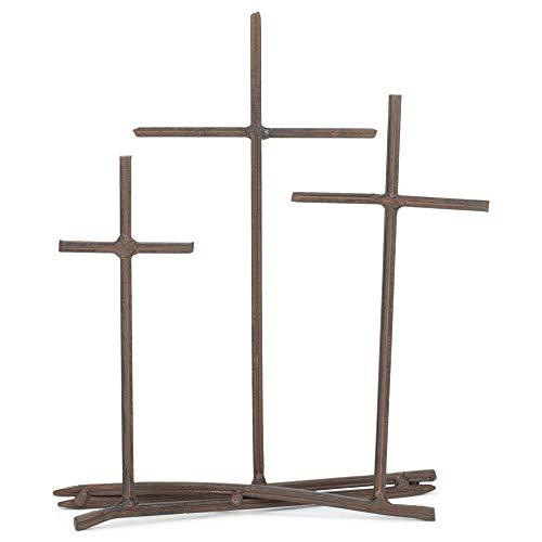 Three Crosses Metal Nail Distressed Brown 8 x 9.5 Metal Table Top Cross Decoration
