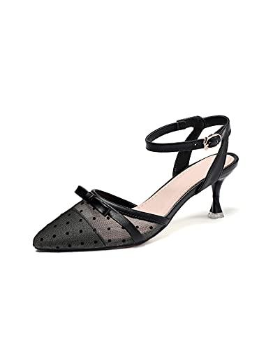 Donna Moda All'aperto Regolabile Alla Caviglia Fibbia Cinghia Zeppe Peep Toe Scarpe Ladies Sandalo per Sera Prom Partito Vestito, Nero , 38.5 EU
