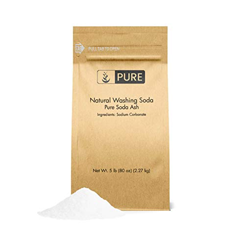 PURE Natural Washing Soda (5 lb.), Also Called Soda Ash or Sodium Carbonate, Eco-Friendly Packaging, Multi-Purpose Cleaner, Water Softener, Stain-Remover