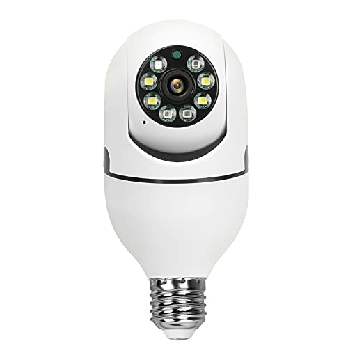 WooLink E27 Bulb Camera, 1080P Security Camera System with 2.4GHz WiFi, 360 Degree Panoramic Wireless Home Surveillance Cameras, Night Vision, Two Way Audio, Smart Motion Detection and Alarm