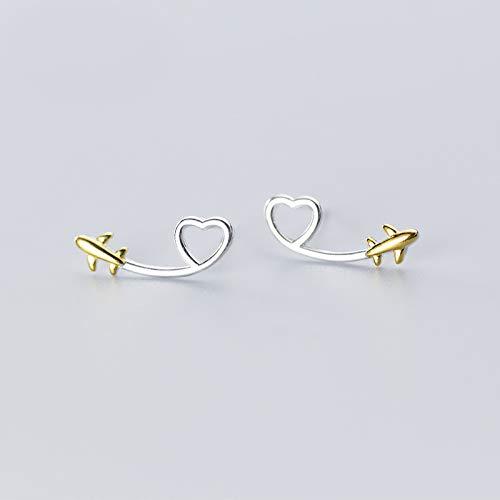Orecchini in argento Sterling 925 con cuore a forma di aereo volante, per donne e ragazze, gioielli in argento (colore metallo: argento Sterling 925)