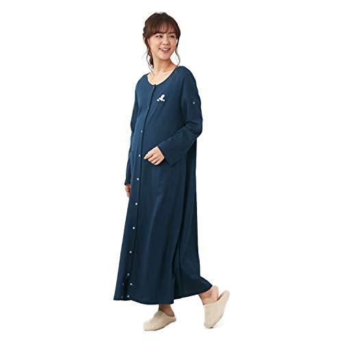 [ベルメゾン]マタニティパジャマ授乳対応綿100%長袖産前前開きルームウェア・パジャマネイビーサイズ:マタニティM~L