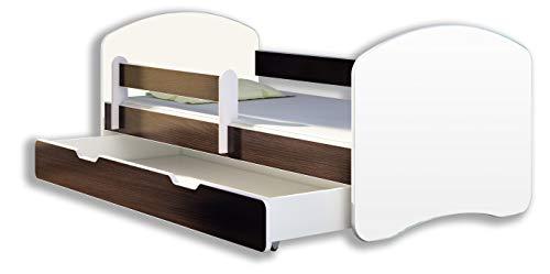 Kinderbett Jugendbett mit einer Schublade und Matratze Weiß ACMA II (180x80 cm + Schublade, Holz Wenge)