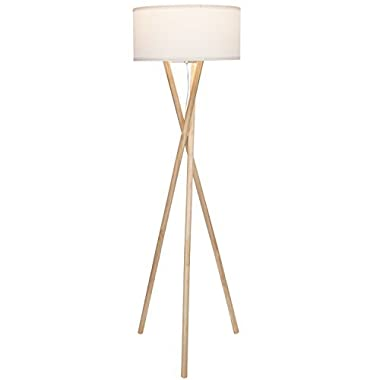 Brightech Harper LED Tripod Floor Lamp – Mid Century Modern Wood for Contemporary Living or Family Rooms - Tall Standing Survey Lamp for Bedroom, Office, Kids Room