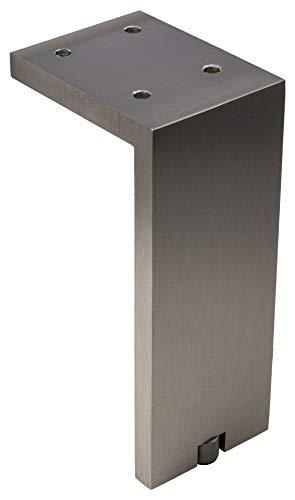 Gedotec Kommoden-Fuß höhen-verstellbar Möbelfuß Edelstahl matt Schrankfuß Vintage eckig - Fonda | Höhe 150 mm | Tragkraft 100 kg | 1 Stück - Design Sockelfuß Aluminium für Couch - Sofa - Bett uvm.