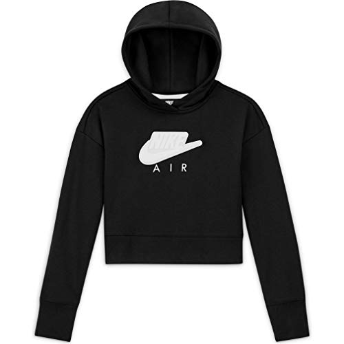 Nike G NSW Air FT Crop Hoodie HBR Felpa con Cappuccio, Black/White/(White), XS Bambina
