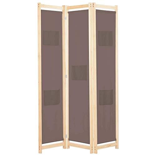 vidaXL Biombo Divisor de 3 Paneles de Tela Decoración Hogar Casa Jardín Bricolaje Salón Comedor Ambientes Habitaciones Separador 120x170x4 cm Marrón