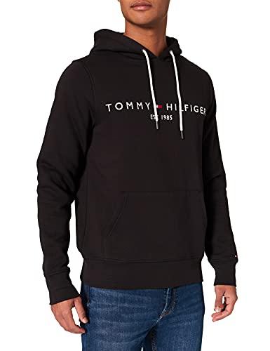 Tommy Hilfiger Tommy Logo Hoody Felpa, Nero (Jet Black Base), L Uomo