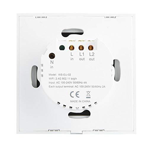 Socobeta Material ABS, elegante diseño, interruptor LED, interruptor inteligente wifi, interruptor remoto APP para salón (Black Cover 2 Road, Transl)