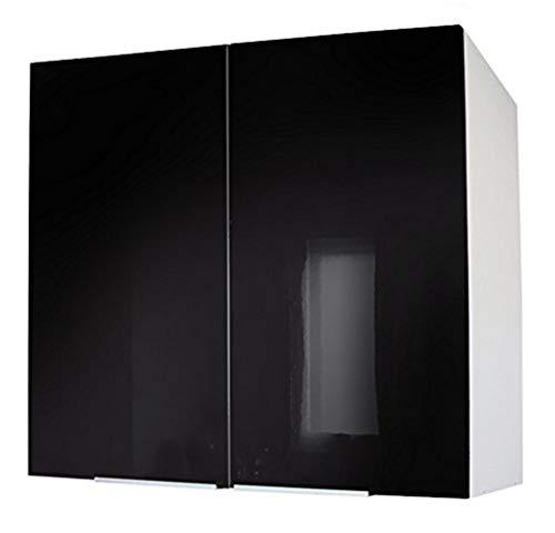 Berlenus CP8HN - Mueble de Cocina con Dos Puertas (80 cm), Color Negro Brillante