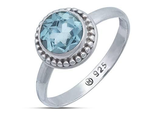 Ring Silber 925 Sterlingsilber Blau Topas blau Stein (Nr: MRI 193), Ringgröße:60 mm/Ø 19.1 mm