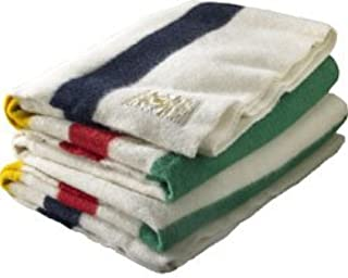 Hudson Bay 4 Point Blanket, Natural with Multi Stripes - Free Hudson Bay Scarf Included