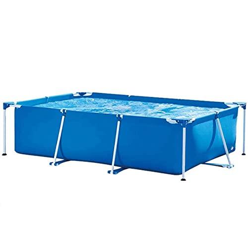 CNTJMJY Easy Set Pool Piscina con Estructura Rectangular - Estructura Metálica Piscina Desmontable, Cuadrada 221x150x43cm, Piscina De Acero, Azul