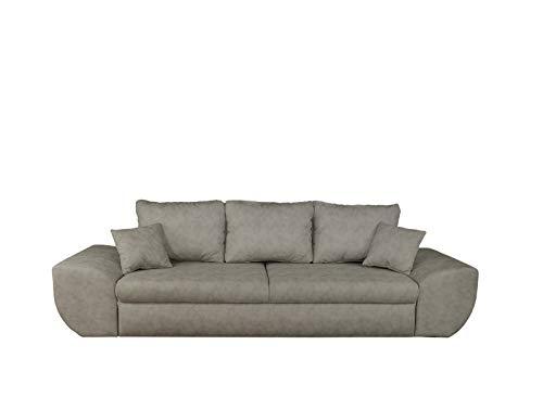 lifestyle4living Big Sofa in hellgrau mit Schlaffunktion und Bettkasten, Microfaser | XXL Couch inkl. 3 extragroßen Rücken-Kissen und hochwertiger Federung
