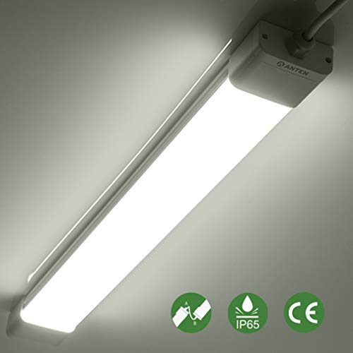 Anten 18W LED Feuchtraumleuchte 60cm für Keller, Garage, Innen- und Außenbeleuchtung | IP65 Wasserfest Kellerleuchte, Feuchtraumlampe in (Kaltweiß 6000K / Neutralweiß 4000K)