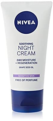 NIVEA Sensitive Night Cream (50 ml), Face Cream for Sensitive Skin with Liquorice Extract and Grape Seed Oil, Regenerating Skin Care from So'Bio Étic