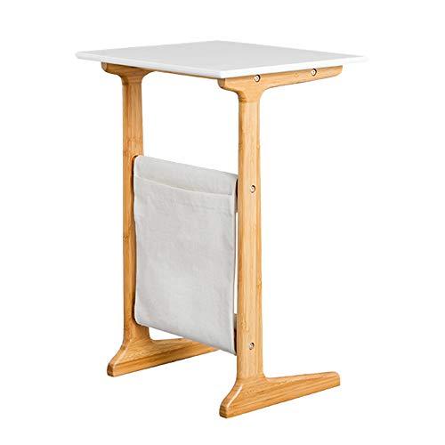 FEI 100% Table en bambou Côté amovible/Snack/Fin/Canapé/Console Ordinateur portable avec sac de rangement pour canapé-lit Manger Écrire Lecture Salon (Couleur : Blanc)