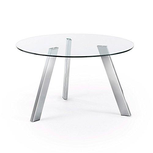Kave Home - Mesa de comedor Carib redonda de 130 cm de diámetro con tablero de cristal transparente y patas de acero cromado.
