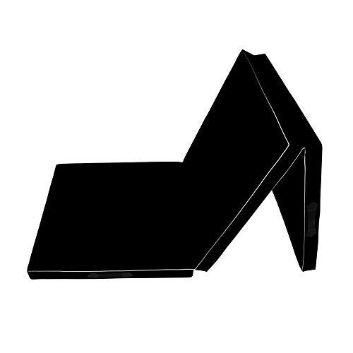 CalmaDragon 85620, Colchoneta Gimnasia, Espuma PU, Impermeable, Alfombra de Protección en 3 Paneles Plegables, 60 x 180 x 6cm, Resistente, Antideslizante, Compacta, Ligera, para Yoga, Pilates (Negro)