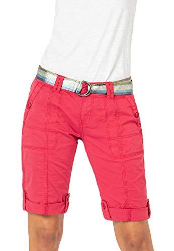 Fresh Made Damen Bermuda Shorts mit glänzendem Gürtel red L
