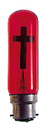 rosarybeads4u 2 Two RED CRUCIFIX Cross Bayonette Light Bulb with Pewter Double Heart Love Token Brooch