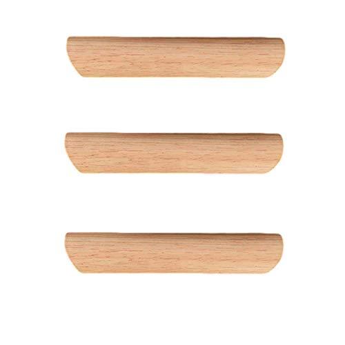 3 Piezas Mango de Madera de Caucho de Bambú Tiradores y Pomos Infantiles Semicírculo Tiradores de Muebles Tiradores Rusticos Cocina Tiradores Largos para Cajones(Hole distance 128mm)