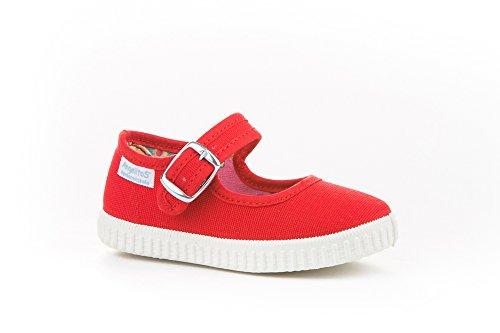 Zapatillas Merceditas de Lona para Niñas, Angelitos mod.123, Calzado Infantil Made in Spain, Garantia de Calidad. (22, Rojo)