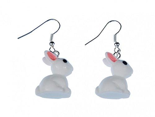 Miniblings Hase Kaninchen Ohrringe Hänger Hase Kaninchen weiß rosa Ohren - Handmade Modeschmuck I Ohrhänger Ohrschmuck versilbert