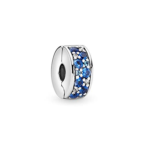 Diy 925 Pandora Colgante Moda Plata De Ley Azul Pave Clip Charm Stopper Beads Fit Pulsera Brazalete Fabricación De Joyas De Plata Original