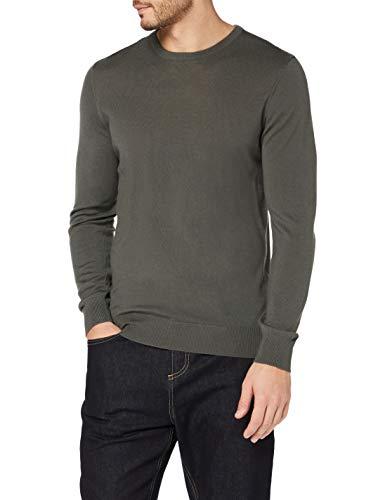 Amazon-Marke: MERAKI Merino-Pullover Herren mit Rundhals, Grün (Khaki), XS, Label: XS