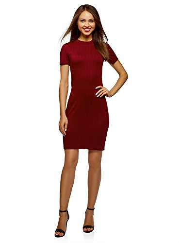 oodji Ultra Damen Enges Kleid mit Reißverschluss, Rot, DE 40 / EU 42 / L