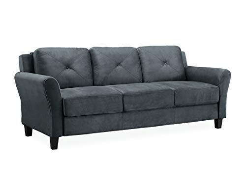 Lifestyle Solutions Collection Grayson Micro-fabric Sofa, Dark Gray