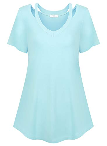 Siddhe V Neck Short Sleeve Tunic Tops Flare Hem Basic Plus Size T Shirts Blouse for Women, Aqua Blue 3XL