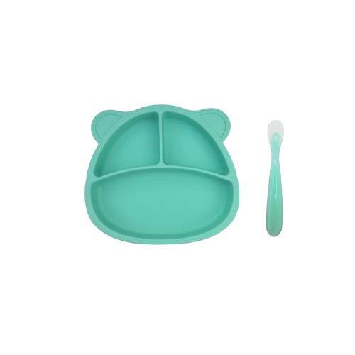 PicoTinaS. Plato de Silicona con Ventosa ara Bebes + Cuchara de Fácil Agarre. Plato y Cuchara de Alimentación Infantil Antideslizante, Fuerte Agarre y BLW. (Azul)