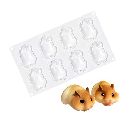 1Stück 8Hohlräume Süße Maus Hamster 3D Mousse Form Kuchenform Silikonform für Schokoladen Französisch Dessert Torten Eiswürfel Seife Gelee Muffin Kuchen Backen