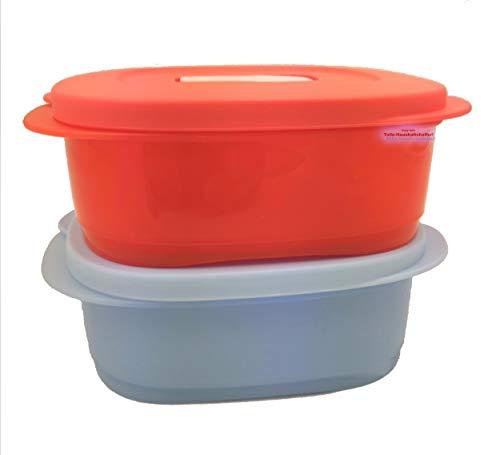 Tupperware CrystalWave, 2 contenitori da 500 ml, per forno a microonde, colore rosso blu, per il pranzo, per il pranzo