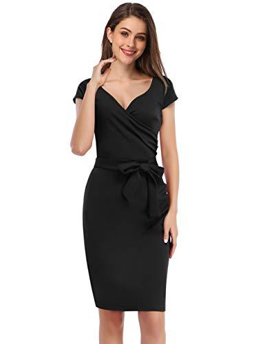 KOJOOIN Damen Elegant Etuikleid Festliche Abendkleider Cocktailkleid Knielang Business Kleider Schwarz (Kurzarm)【EU 38-40】/M