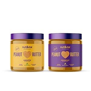 Crema de Cacahuete Crunchy y Smooth nut&me | 1 KG | Sin Azúcares añadidos | sin aceite de palma, Sin Gluten | Vegano | PACK 2 botes (500g x 2 uds)
