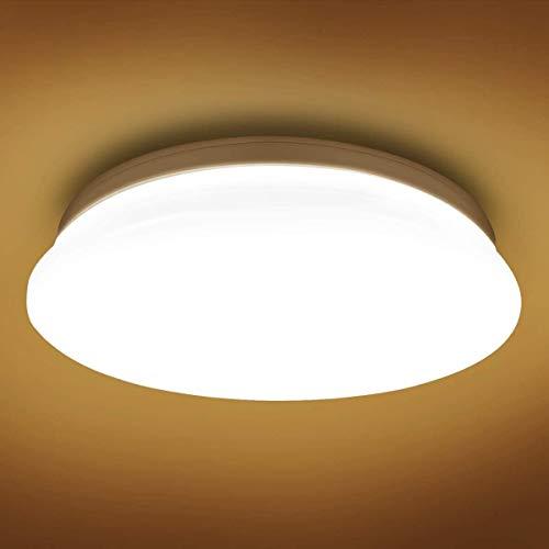 Luz del techo LED, 12W 900LM, 3000K Cálido Luz de baño blanco, 60W equivalente, al ras de la iluminación de techo para el dormitorio, el guardarropa, el porche, el pasillo, el salón y más,  26 cm ron