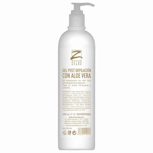 Gel Post Depilación con Aloe Vera - 500ml - Efecto refrescante y calmante - Para Hombre y Mujer - Zelos