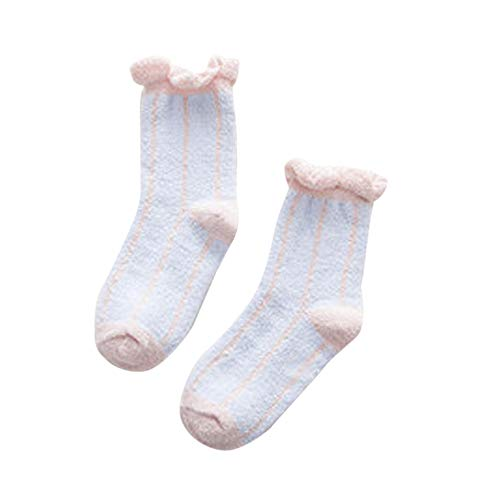 FAMILIZO Calcetines Mujeres Invierno Cálido Franja Piso Calcetines Pierna Lady Cable Cómodo Stocke Tobilleros Antideslizantes