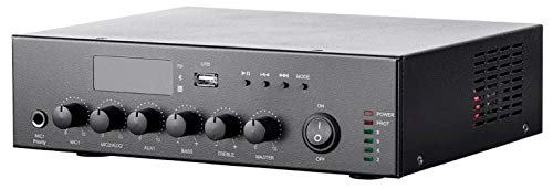 Monoprice Commercial Audio 60W 3CH 100/70V Mixer Amp with Built-in MP3 Player, FM Tuner, and Bluetooth Connection (136373)