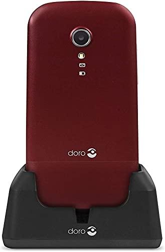 Doro 2400 Teléfono Móvil 2G con Tapa para Mayores con Teclas Grandes, Botón SOS y Base de Carga [Versión Española y Portuguesa] (Rojo)