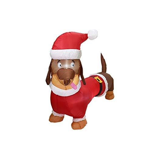 shyvana 4ft Inflatable Christmas Dachshund Dog With LED Lights Blow Up Christmas Dog Inflatable Christmas Decorations For Yard Garden Home Party