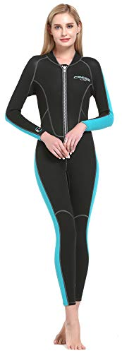 Lido Lady Monopiece Wetsuit 2mm - Einteiliger Damen-Neoprenanzug 2 mm für alle Wassersportarten, Schwarz/Aquamarin