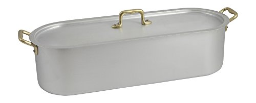 Ottinetti 45cm'Donna' Brushed Aluminium Fish Poacher With Lid And Grill, Small, Silver