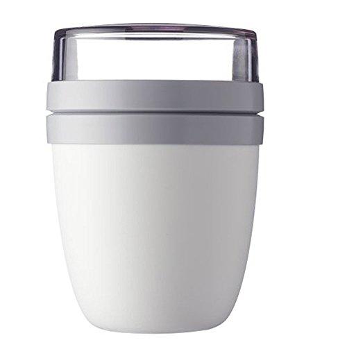 Lunchpot Lunchdose Müslidose Müslibecher Joghurt to go Ellipse, Kunststoff 4 tlg., 100 % dicht - auslaufsicher, ca. 500 ml und 200 ml, weiß/hellgrau, 1 Stück
